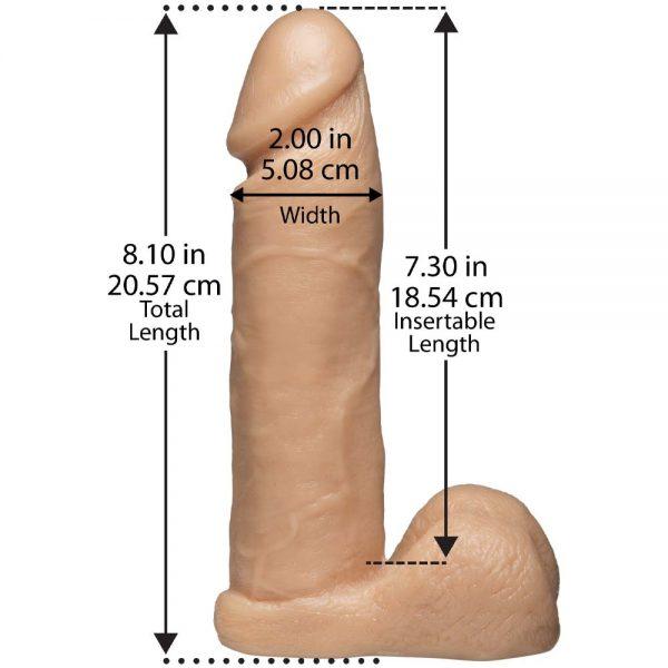 dildo Realistic Cock Vac U Lock Flesh dimensiuni