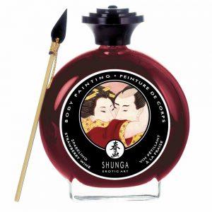 Shunga Body Painting sampanie si capsuni