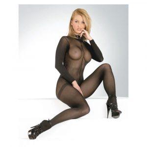 Longarm catsuit negru