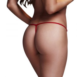 Red Lace Up Panty chilotei tanga spate rosii